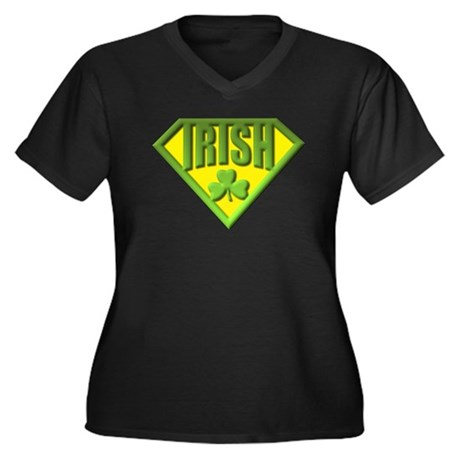 Super Irish Women's Plus Size V-Neck Dark T-Shirt