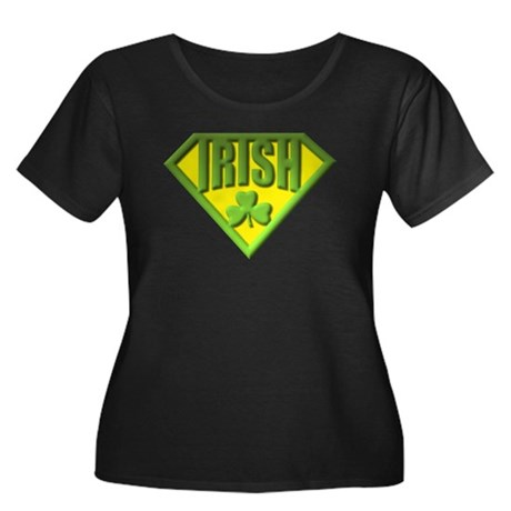 Super Irish Women's Plus Size Scoop Neck Dark T-Sh