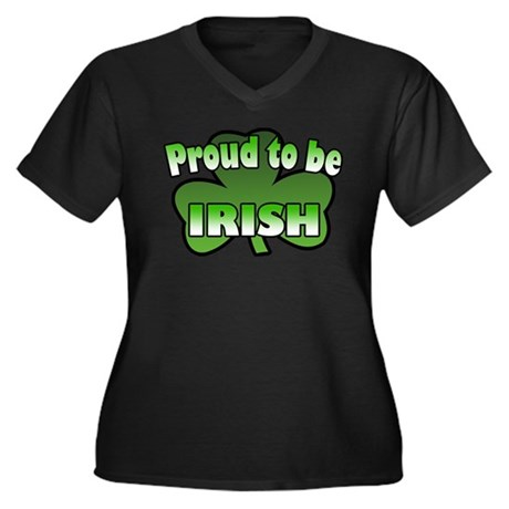 Proud to be Irish Women's Plus Size V-Neck Dark T-