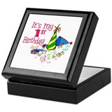It's My 1st Birthday (Party Hats) Keepsake Box