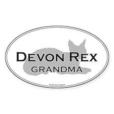 Devon Rex Grandma Oval Decal