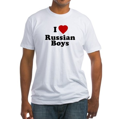 I Love Russian Boys Fitted T-Shirt