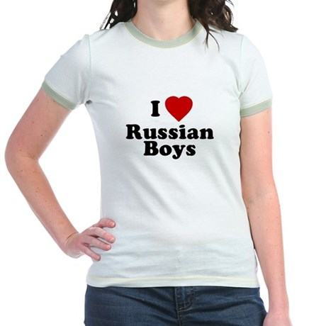 I Love Russian Boys Jr Ringer T-Shirt