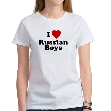 I Love Russian Boys Womens T-Shirt