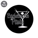 "Black & White Martini Bachelo 3.5"" Button (10 pack"