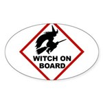 Witch on Board Oval Sticker