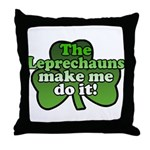 Leprechauns Make Me Do It Shamrock Throw Pillow