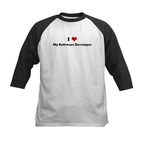 I Love My Software Developer Kids Baseball Jersey