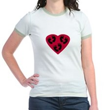Triplet Baby Feet Love Heart T