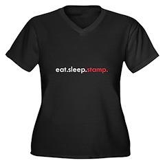Eat Sleep Stamp Women's Plus Size V-Neck Dark T-Sh