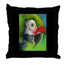 Green Military Macaw Throw Pillow