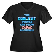 Coolest: Capac, MI Women's Plus Size V-Neck Dark T
