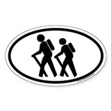Hiking Euro Style Oval Decal