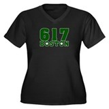 617 Boston Women's Plus Size V-Neck Dark T-Shirt