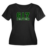 617 Boston Women's Plus Size Scoop Neck Dark T-Shi