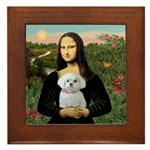 Mona's Maltese (R) Framed Tile