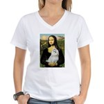 Mona Lisa / Maltese Women's V-Neck T-Shirt