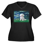 Lilies / Maltese Women's Plus Size V-Neck Dark T-S