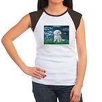 Lilies / Maltese Women's Cap Sleeve T-Shirt