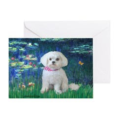 Lilies / Maltese Greeting Card
