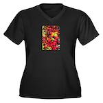 Autumn Women's Plus Size V-Neck Dark T-Shirt
