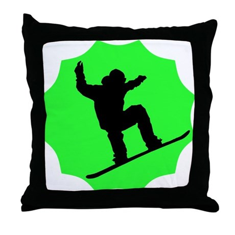 Green Snowboarder Throw Pillow