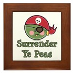 Surrender Ye Peas Pirate Framed Tile
