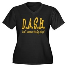 DASH Insanity Women's Plus Size V-Neck Dark T-Shir