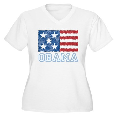 Obama Flag Women's Plus Size V-Neck T-Shirt