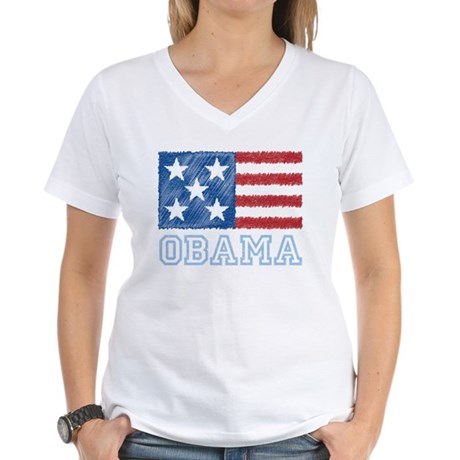 Obama Flag Women's V-Neck T-Shirt