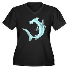 Hammerhead Sharks Women's Plus Size V-Neck Dark T-
