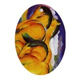 Yellow Horses Oval Ornament