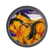 Yellow Horses Wall Clock