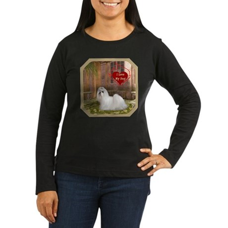 Maltese Women's Long Sleeve Dark T-Shirt