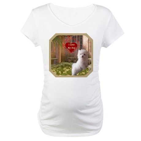 Maltese Puppy Maternity T-Shirt