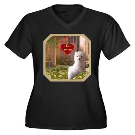 Maltese Puppy Women's Plus Size V-Neck Dark T-Shir