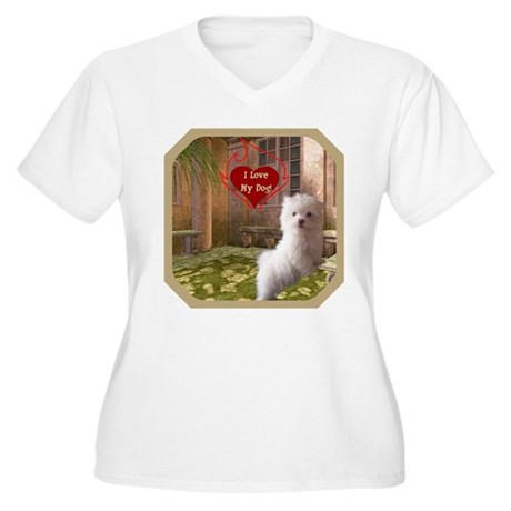 Maltese Puppy Women's Plus Size V-Neck T-Shirt