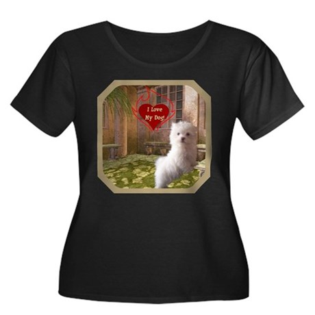 Maltese Puppy Women's Plus Size Scoop Neck Dark T-