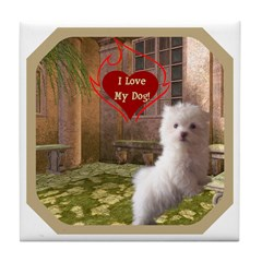 Maltese Puppy Tile Coaster