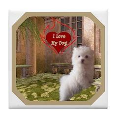 Maltese Puppy Tile Coaster