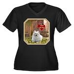 Pomeranian Women's Plus Size V-Neck Dark T-Shirt
