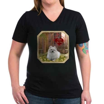 Pomeranian Women's V-Neck Dark T-Shirt