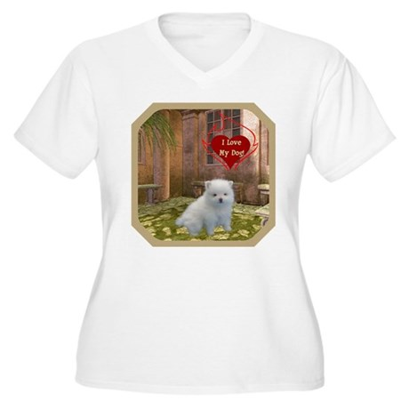 Pomeranian Puppy Women's Plus Size V-Neck T-Shirt