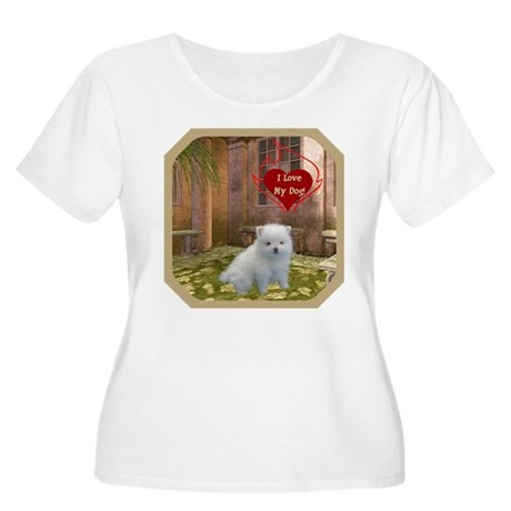 Pomeranian Puppy Women's Plus Size Scoop Neck T-Sh