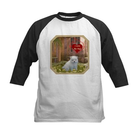 Pomeranian Puppy Kids Baseball Jersey