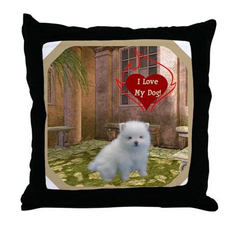 Pomeranian Puppy Throw Pillow