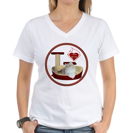 Cat #4 Women's V-Neck T-Shirt