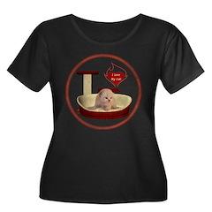 Cat #7 Women's Plus Size Scoop Neck Dark T-Shirt