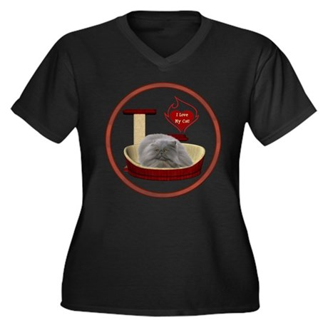 Cat #9 Women's Plus Size V-Neck Dark T-Shirt