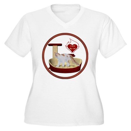 Cat #14 Women's Plus Size V-Neck T-Shirt